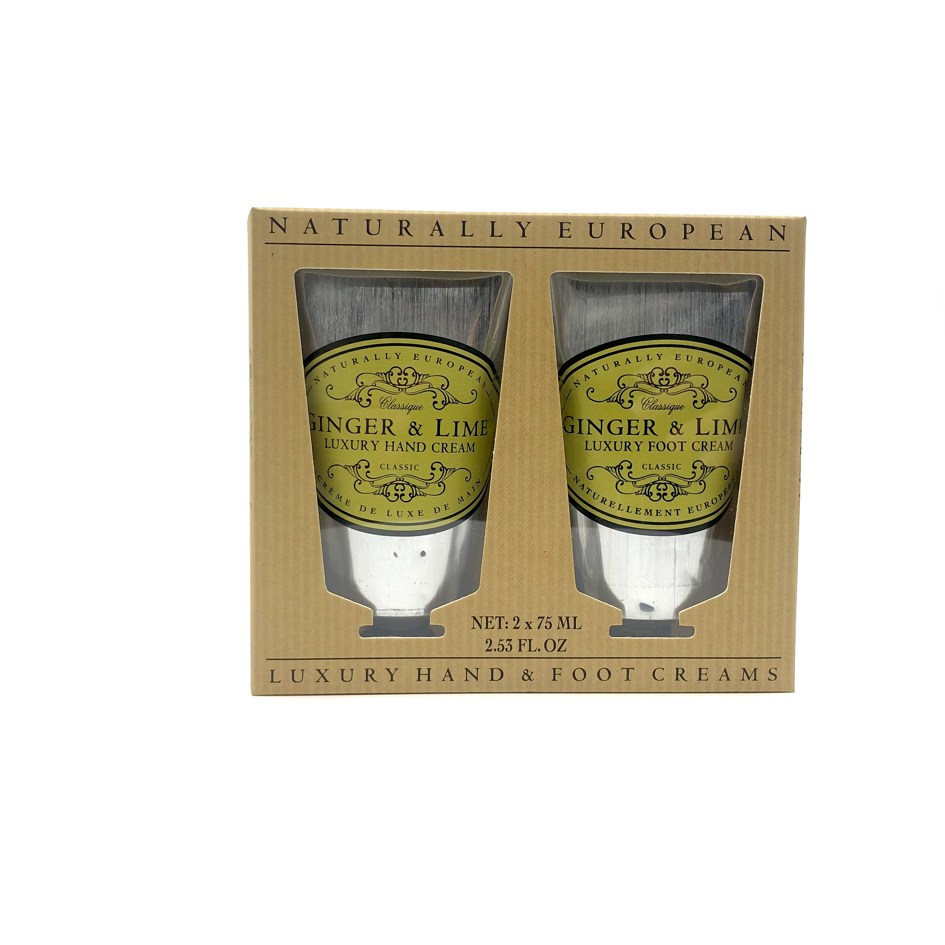 Naturally European Luxury Hand and Foot Creams Set Ginger Lime
